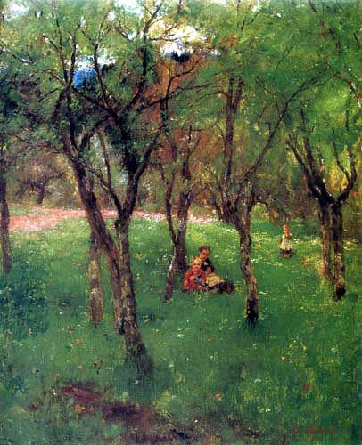 Johann Sperl - Kinder auf der Obstbaumwiese