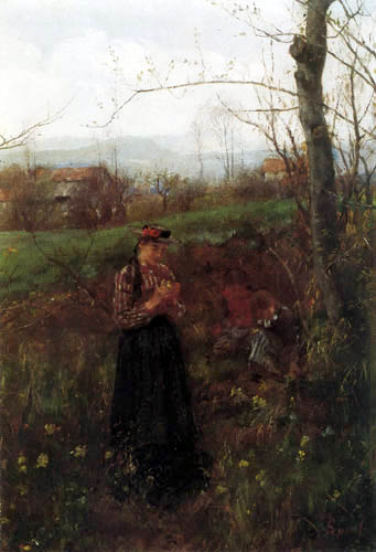 Johann Sperl - Girl in spring
