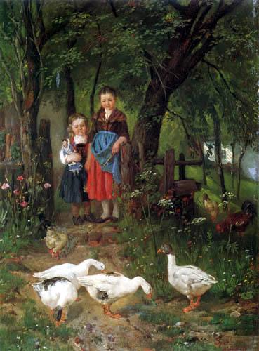 Johann Sperl - Girls with geese