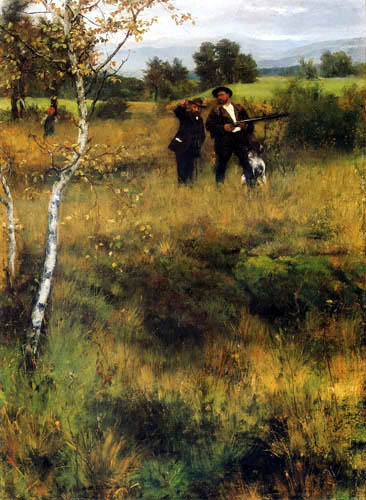Johann Sperl - Sperl and Leibl on the hunt  (painted with W. Leibl)