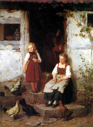 Johann Sperl - Two girls with chickens before the house