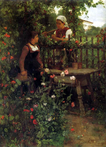 Johann Sperl - Conversation at the fence of the flower garden
