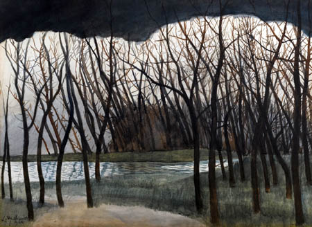 Léon Spilliaert - Pond surrounded by trees, winter