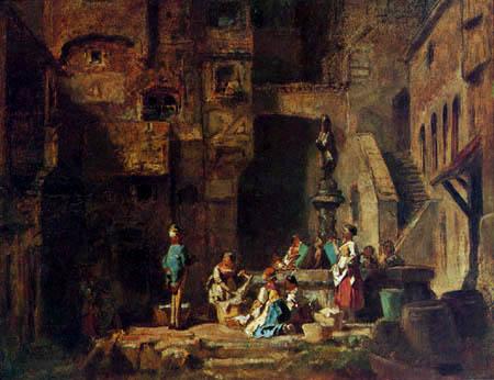 Carl Spitzweg - Wäscherinnen am Brunnen