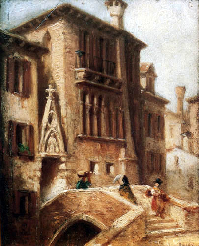 Carl Spitzweg - View of Ponte e calle del Paradiso