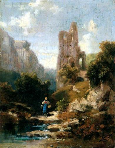 Carl Spitzweg - Ruinenlandschaft mit Sennerin