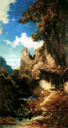 Carl Spitzweg - Einsiedelei in Felsschlucht