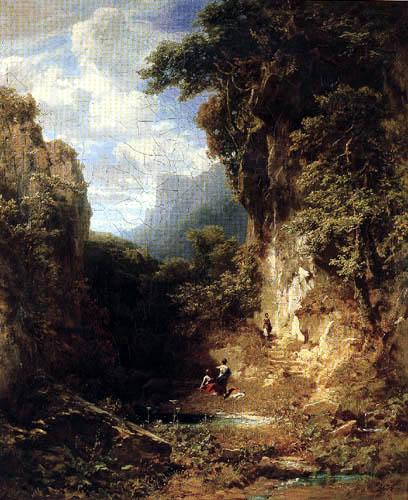 Carl Spitzweg - Mountainous Landscape