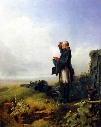 Carl Spitzweg - Kanonier, strickend auf Wache