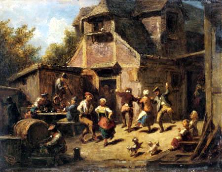 Carl Spitzweg - Bauerntanz in einer Dorfschänke