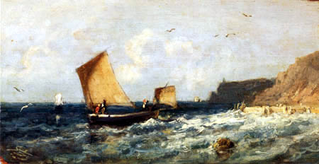 Carl Spitzweg - Rough sea near Dieppe with boats