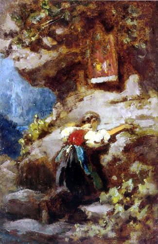 Carl Spitzweg - A praying girl on the rock