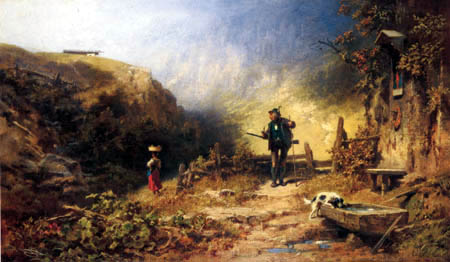 Carl Spitzweg - The hunter fallen in love
