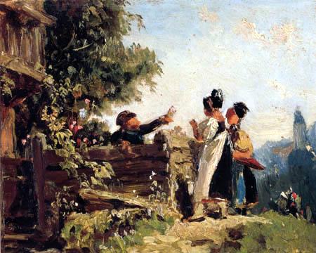 Carl Spitzweg - Schwabenmädchen am Gartenzaun