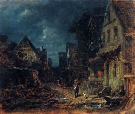 Carl Spitzweg - Village lane with night watchman