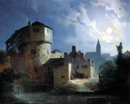 Carl Spitzweg - Claro de luna en un pueblo
