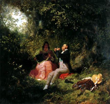 Carl Spitzweg - Flute playing