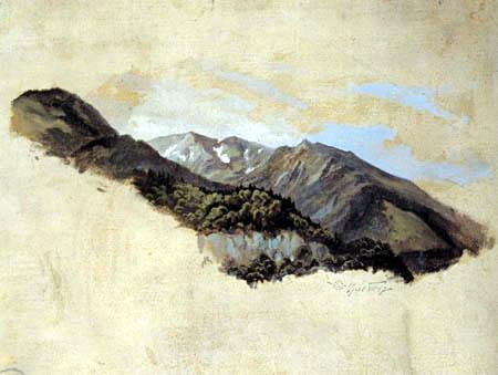 Carl Spitzweg - Blick auf die Schlierseeberge