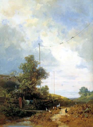 Carl Spitzweg - Schwalben auf der Telegraphenleitung