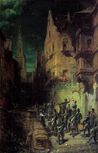 Carl Spitzweg - Musizierende Scharwache