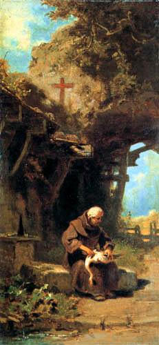 Carl Spitzweg - Un eremitaño desplumando un ganso
