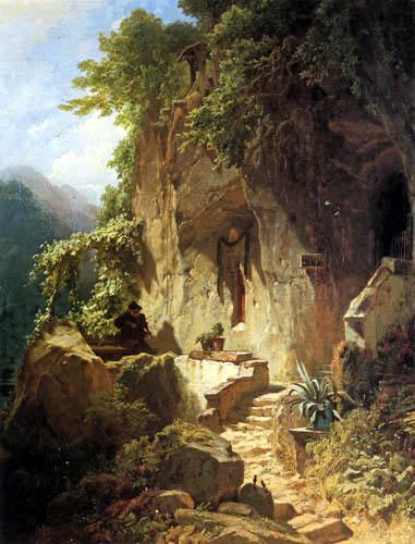 Carl Spitzweg - A music making hermit before his hermitage