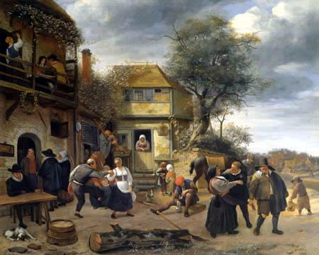 Jan Havicksz. Steen - Tanzende Bauern vor einer Herberge
