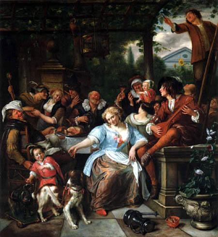 Jan Havicksz. Steen - A happy company of a terrace