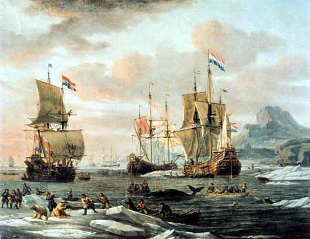 Abraham Storck - Netherlands flyboats by whaling