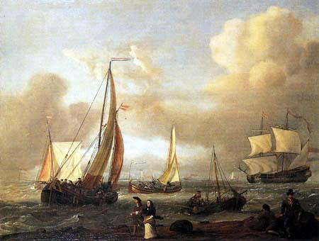Abraham Storck - Shipping on choppy waters