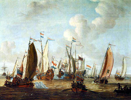 Abraham Storck - The water festival on the Ij near Amsterdam