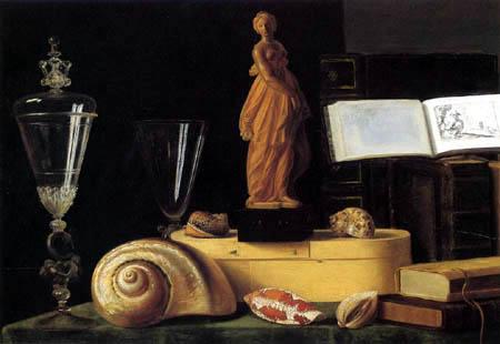 Sebastian Stoskopff - Statue, books and shells