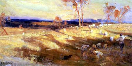 Arthur Ernest Streeton - Goldener Sommer, Eaglemont, Studie