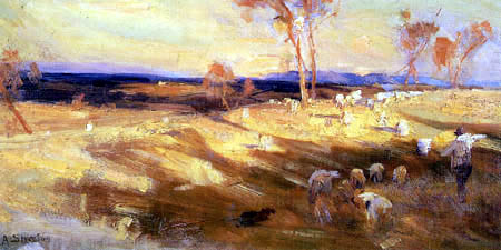Arthur Ernest Streeton - Golden Summer, Eaglemont, Study