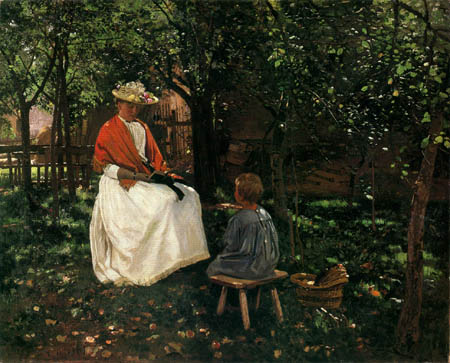 Otto Strützel - A woman with his daughter in the garden