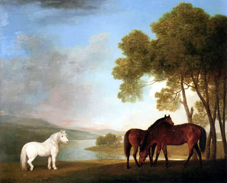 George Stubbs - Zwei Stuten und ein Pony in einer Flußlandschaft
