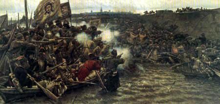 Wassilij (Vasily) Iwanowitsch Surikow (Surikov) - Conquest of Siberia by Yermak