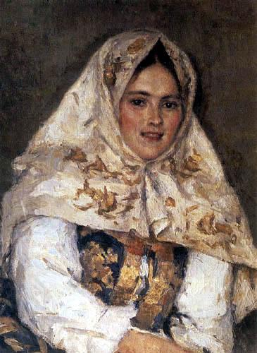 Wassilij (Vasily) Iwanowitsch Surikow (Surikov) - Portrait of J. Ratschkovskaja