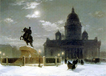 Wassilij (Vasily) Iwanowitsch Surikow (Surikov) - Monument to Peter the Great on Senate Square in St. Petersburg