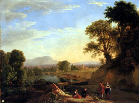 Herman van Swanevelt - An Italianate river landscape with travellers