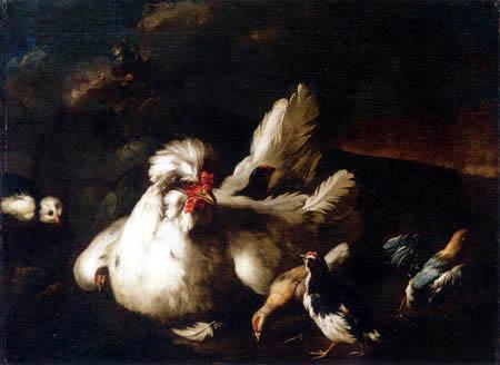 Franz Werner von Tamm - A hen and chicks in a landscape