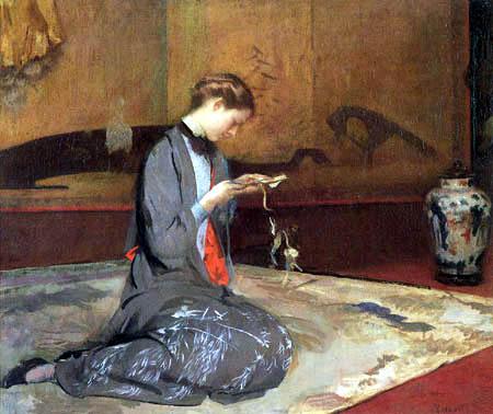Edmund Charles Tarbell - Girl Cutting Patterns