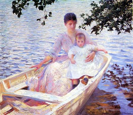 Edmund Charles Tarbell - Mutter und Kind in einem Boot
