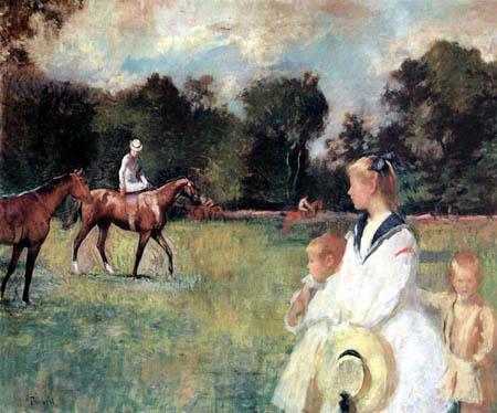 Edmund Charles Tarbell - Schooling the Horses
