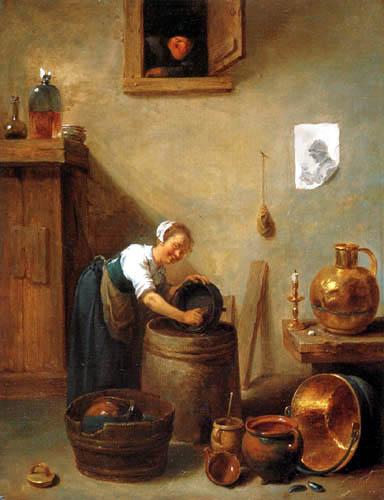 David Teniers le Jeune - Mädchen beim Abwasch