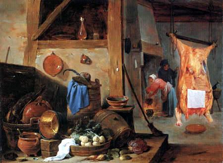 David Teniers le Jeune - Cuisine avec un bœuf