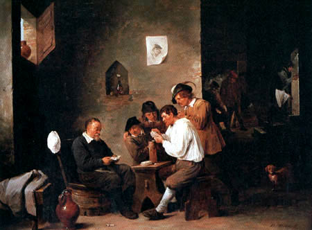 David Teniers the Younger - Kartenspielende Bauern