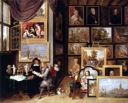 David Teniers the Younger - A Picture Gallery with two Men