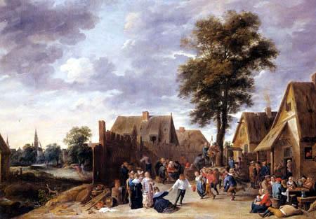 David Teniers le Jeune - Kermesse dans la auberge au demi-lune