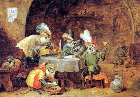 David Teniers the Younger - Monkeys Smoking and Drinking